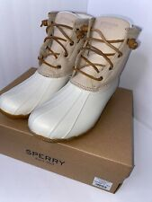 NIB Women's Sperry Saltwater Duck Boots in Ivory STS84428 9.5