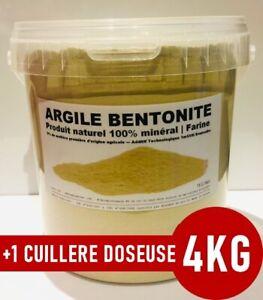 ⭐ 4KG | ARGILE BENTONITE POUDRE FINE | MULTI-USAGES | +1 Cuillère Doseuse 25ml