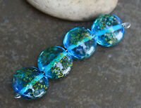 Aqua Raku Lentils -  Handmade Glass Lampwork Coin Beads - elasia SRA MTO