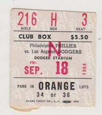 "PHILADELPHIA PHILLIES ""PHOLD"" TICKET STUB VS. LA DODGERS SEPTEMBER 18,1964"
