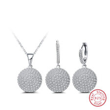 925 Sterling Silver Crystal  Necklace Earring Shamballa Drop Jewelry Set Weding