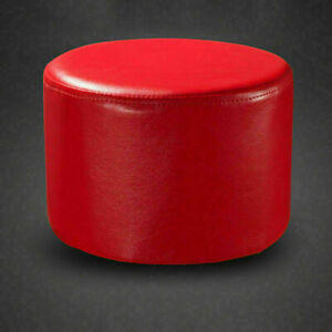 Round Faux Leather Ottoman Seat Footstool Rest Padded Seat Stool Bedroom Decro