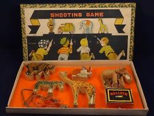 Ancien jouet jeu de tir shooting game Made in Japan animaux bois en boîte 1920