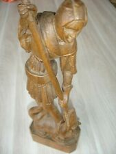 Antike Originale Vor 1945 Holz Skulptur Heiliger Georg Bronze