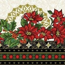 MAGIC OF WINTER RED POINSETTIAS HOLLY CHRISTMAS STRIPE FABRIC METALLIC