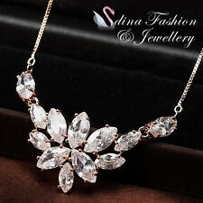 18K Rose Gold Plated Simulated Crystal Elegant Ice Flower Fashion Necklace