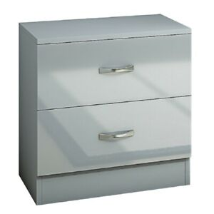 Grey High Gloss Bedside Cabinet with 2 Drawers. Modern Bedroom Furniture