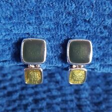 MONET NEW SILVERTONE TWO-TONE FORREST GREEN/LIME CLIP-ON EARRINGS