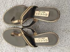 386256161e13 Gucci Metallic Gold Thong Sandals SZ 36.5C PRE WORN
