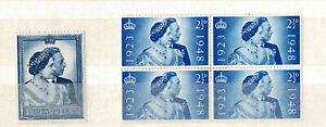 BC GB 1948 Royal Wedding MH single and Block 4 MH