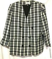 John Meyer of Norwich Womens Black White Plaid Jacket/Blazer Size Plus 24W New