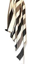 Wollplaid Plaid Decke 130x180 cm Kaschmir/Schurwolle grau/weiß/beige gestreift
