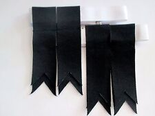 Solid BLACK Kilt Hose Garter Flashes for Men NEW - FREE SHIPPING !