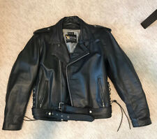 Xelement Motorcycle Jacket Mens L Black Leather,  Zip-Out Liner Moto Mesh