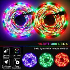5M RGB 3528 Waterproof 300 LED Strip Light With 44 Key Remote 12V US Power