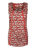 New Ex Fat Face Ladies Red Print Cotton Cami Top Size 6 - 18 Casual Leopard