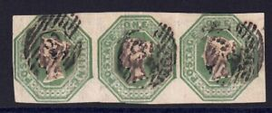QV 1847-54 SG55  Embossed 1s  Green Strip of 3 fine used
