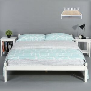 140x190CM Natural Pine Wood Double Bed Frame Queen Size Bed Frame Modern Bedroom