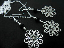 A PRETTY FLOWER  TIBETAN SILVER  NECKLACE AND EARRING SET. NEW.