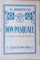 1930s libretto teatro DON PASQUALE Gaetano Donizetti di M.A.-ediz.G.Ricordi