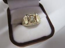 STUNNING ESTATE MEN'S 14 KT GOLD .90 CTW FANCY CHAMPAGNE BROWN DIAMOND RING !!!!