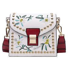 2017 Women Fashion Rivet Embroidery Flower Tote Shoulder Messenger Handbag Bag