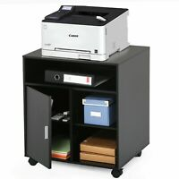 Black Wheels Printer Cart Rolling Stand Table with Storage for Home Office