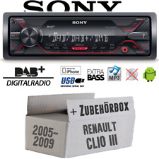 Autoradio Sony | DAB | DAB+ | MP3/USB KFZ PKW Einbauzubehör für Renault Clio 3