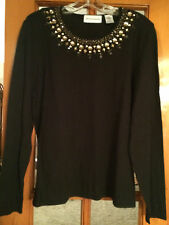 NWOT Alfred Dunner Small Black Lightweight Sweater Gold Beading at Neck L/S