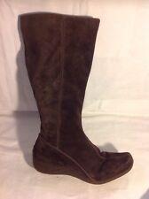 Clarks Dark Brown Mid Calf Suede Boots Size 4.5D