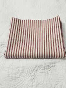 Vintage Country Curtains Red Stripe Ticking Cotton Blend Made In USA 82 X 17 in