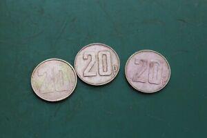 "3 x 20p Brass Tokens Gaming Coin SG 22.2mm 7/8"" Token"