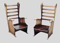 Pair Of Oak Low Armchairs Chairs, Carved Decoration, Very Stylish.