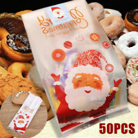 50PCS Self Adhesive Christmas Santa Candy Bag Treat Cookie Gift Pack Bags Party
