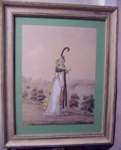 antique Hand Colored Fashion Print English Lady Gallery of Fashion of 18th cen