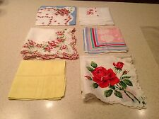 Lot of 6 Vintage Ladies Handkerchiefs Floral Scalloped Happy Birthday Hearts
