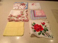 Lot of 6 Vintage Ladies Handkerchiefs Floral Scalloped Happy Birthday Hearts