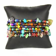 BR191-101 Multicolored Six Strand Bracelet Stones and Crystal Beads Hand Made