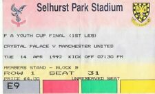 More details for football ticket crystal palace manchester united fa youth cup final beckham 1st