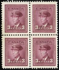 1943 CANADA KING GEORGE VI 3¢ STAMP BLOCK, MINT MNH with flaws, Scott #252