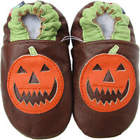 carozoo pumpkin brown 12-18m soft sole leather baby shoes