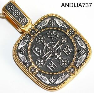 RUSSIAN GREEK BYZANTINE ORTHODOX MEDAL SILVER 925+999 GOLD. NEW COLLECTION. 10g
