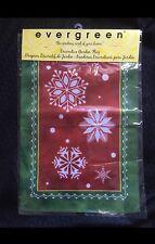 "Holiday Christmas Small Garden Flag 13"" x 18"" Decor Gift Red Green Snowflakes"