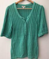 Ladies CC Green Cardigan Size 10 <NZ461