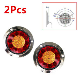 2X 16-LED 12V Red+Yellow Car Tail Lights Back-up Reverse Lamps Turn Signal Light