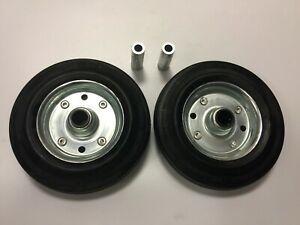 "set of 2pcs - 160mm (6"") Rubber steel centre wheels - 20mm roller bearing"