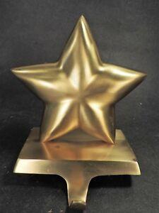 CRATE & BARREL BRUSHED GOLD CHRISTMAS STAR STOCKING HANGER