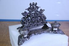 Desk Set Vintage Silvered Brass with Letter Rack and Double Inkwells