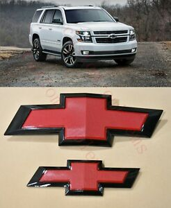 2015-2020 Chevrolet Tahoe Suburban Black Red Bowtie Emblems Front & Rear
