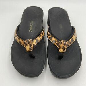 Vionic 380 High Tide Thong Flip Flop Sandal Womens Size 8 Wedge Leopard Print